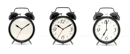 Set of 3 alarm clocks isolated on white background. Vintage style black clock with clean face, numbers and ringing clock. Graphic design element. Deadline, wake up, happy hour concept. 3D illustration Stock Photo