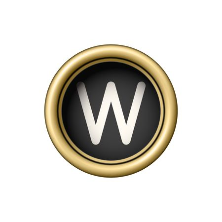Letter W. Vintage golden typewriter button.