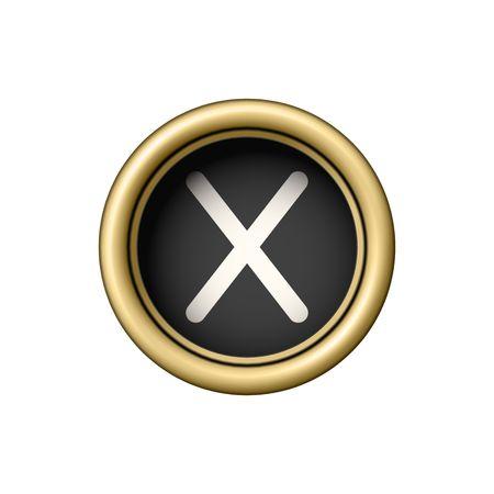 Letra X. botón de máquina de escribir de oro de la vendimia.