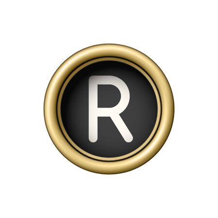 Letter R. Vintage golden typewriter button. Illustration