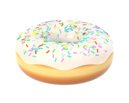 Delicious donut with vanilla icing and sprinkles