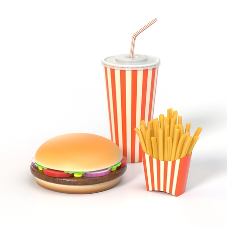 Hamburger, french fries and cola fast food meal Stock Photo