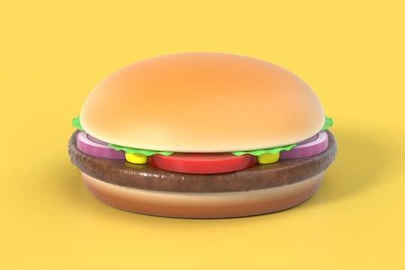 Hamburger on yellow background Stock Photo