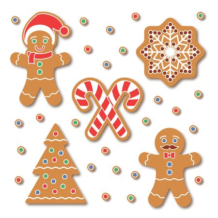 Christmas Gingerbread cookie sticker set. Traditional colorful cookies with Snow flake, Christmas Tree, candy cane isolated on white. Holiday graphic design elements for scrapbooking, stickers, badges
