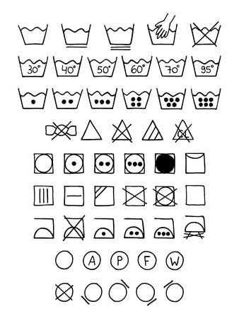 Doodle laundry symbols. Vektorové ilustrace