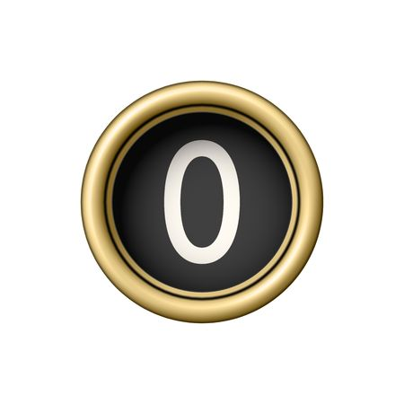 Number 0. Vintage golden typewriter button. Illustration