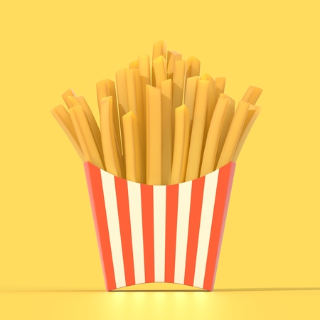 Fast food french fries in a container. Generic striped fried potato chip package on yellow background. Graphic design element for restaurant advertisement, menu, poster, flyer. 3D illustration Stock Photo