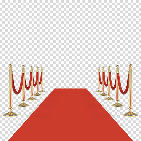 Red carpet with red ropes on golden stanchions Stock Photo