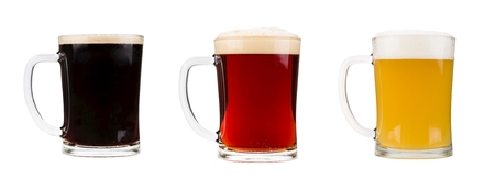 Realistic beer glasses isolated on white background