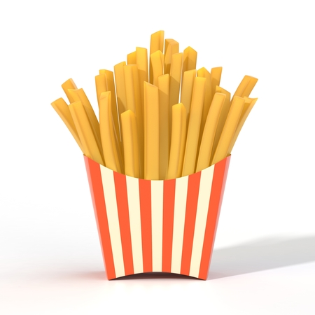 Fast food french fries in a container