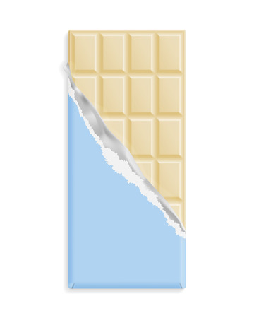 White chocolate bar in a blue wrapper