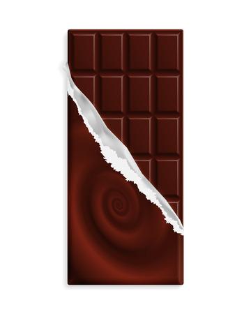 Dark bitter chocolate bar in a wrapper with swirl Stock Illustratie