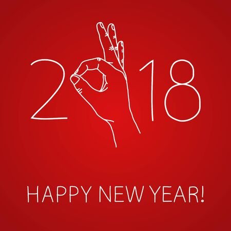 Happy 2018 New Year. Graphic design element for greeting card, party invitation, flyer or poster. Doodle hand drawn poster. Hand making OK sign. Its going to be great year concept. Vector illustration  イラスト・ベクター素材