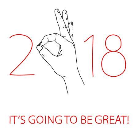 New Year greeting card Vector illustration, hand signing ok. Illustration