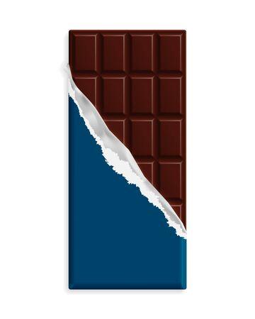 Dark bitter chocolate bar, blue wrapper mock up. Sweet dessert package template. Place for text, symbol. Graphic design element for packaging, poster, flyer, dessert advertisement vector illustration.