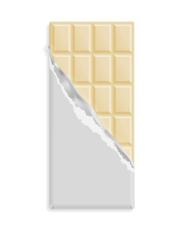 White chocolate bar, blank wrapper mock up. Sweet dessert package template. Place for text, symbol. Graphic design element for packaging poster, flyer, dessert advertisement. Vector illustration Stock Illustratie