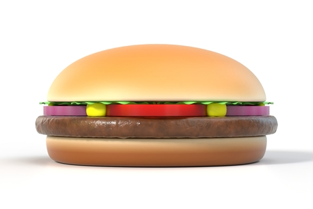 Fast food hamburger isolated on white with shadow. American cuisine burger. Graphic design element for restaurant advertisement, menu, poster, flyer. 3D illustration Stock Photo