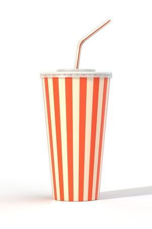 Fast food cola drink cup, drinking straw. Generic striped beverage package isolated on white background. Graphic design element for restaurant advertisement, menu, poster, flyer. 3D illustration Stock Photo