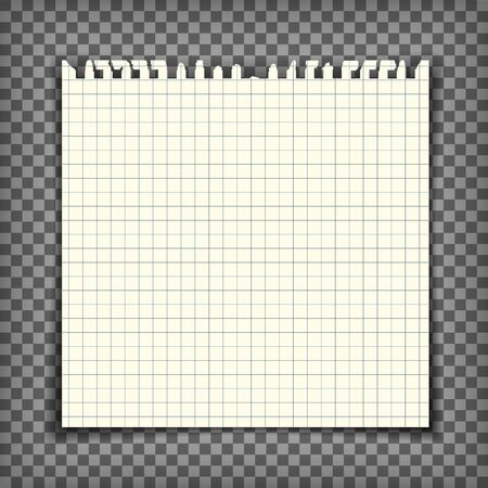 Blank checkered note book page with torn edge. Notepaper mockup. Graphic design element for text, advertisement, math, doodle, sketch, scrapbooking. Checkers paper piece. Realistic vector illustration Illustration