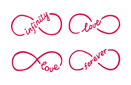 Infinity symbols with words love, infinity, forever