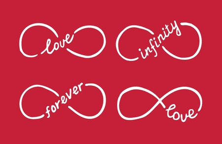 Infinity symbols with words love, infinity, forever. Thin line with calligraphy. Modern grunge outline. Graphic design element for Valentine's Day card, wedding invitation, tattoo. Vector illustration.