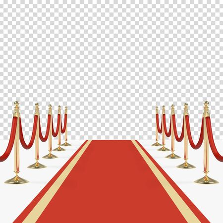 Red carpet with red ropes on golden stanchions. Exclusive event, movie premiere, gala, ceremony, awards concept.