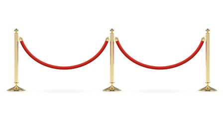 Barriers with red rope line. Red carpet event enterance gate. VIP zone, closed event restriction. Realistic image of golden poles with velvet rope.