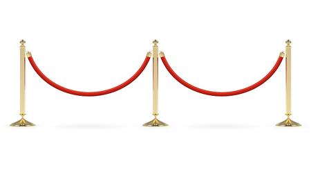 Barrières met rode touwlijn. Rode loper evenement entree poort. VIP-zone, beperking voor gesloten evenementen. Realistisch beeld van gouden palen met fluwelen touw.