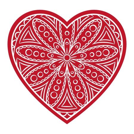 Doodle heart Valentines Day love symbol. Floral heart shape. Decorative round flower. Graphic design element for wedding invitation, birthday card, baby shower, flyer, sticker. Vector illustration.