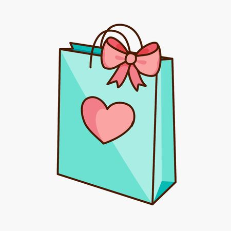 Doodle gift bag with bow and heart Vectores