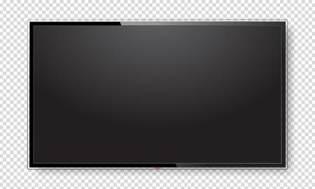 Realistyczny ekran telewizora. Nowoczesny stylowy panel lcd typu led. Makieta wyświetlania dużego monitora komputera. Pusty szablon telewizji. Element graficzny do katalogu, strony internetowej, jako makieta. Ilustracji wektorowych