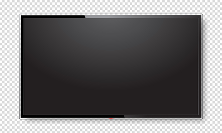 Realistic TV screen. Modern stylish lcd panel, led type. Large computer monitor display mockup. Blank television template. Graphic design element for catalog, web site, as mock up. Vector illustration Vettoriali