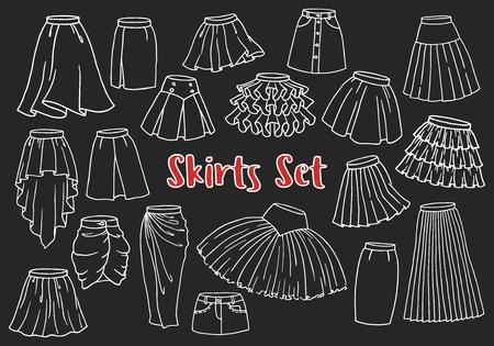 Conjunto de faldas de mujer dibujadas a mano