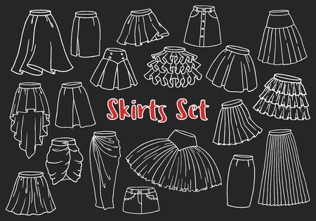 Set of hand drawn women skirts