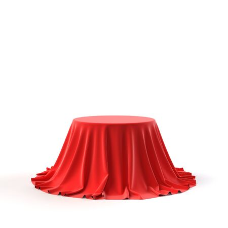 Round box covered with red fabric