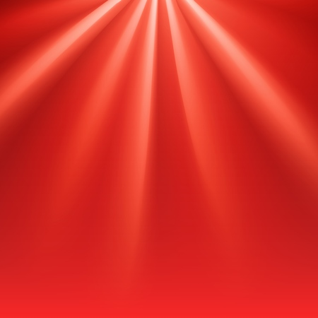 Red polar rays with flare. Glaring effect with transparency. Vector illustration