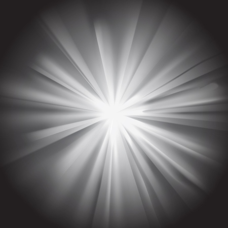 White sun rays with flare on dark background. Glaring effect with transparency. Vector illustration