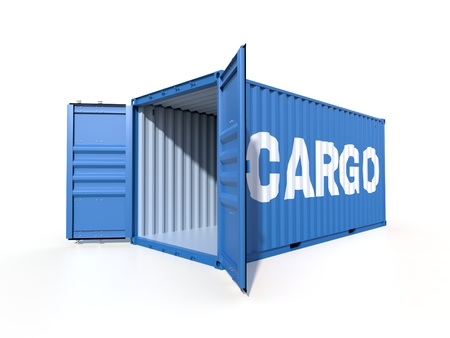 Empty ship container with the word CARGO on the side, with open doors, isolated on white background. 3D illustration Stock Photo
