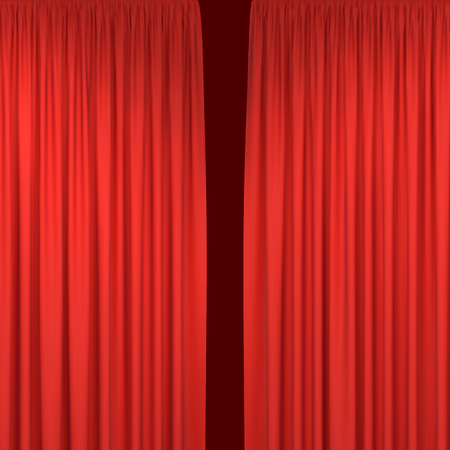 Red stage curtains for interior performance event on theatrical stage or in concert hall, isolated on black background. Vector illustration