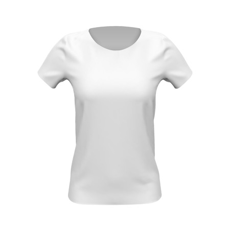 Blank mockup of white basic women t-shirt, front view, isolated on white background. Vector illustration Ilustração