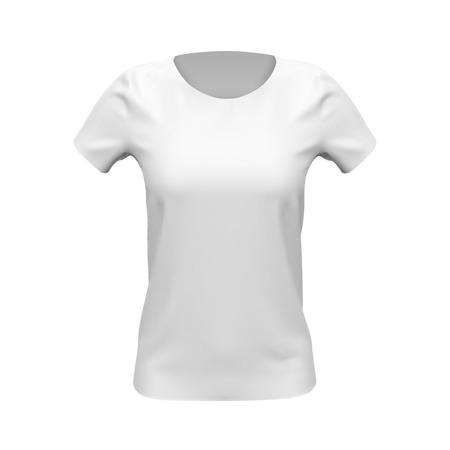 Blank mockup of white basic women t-shirt, front view, isolated on white background. Vector illustration Ilustrace