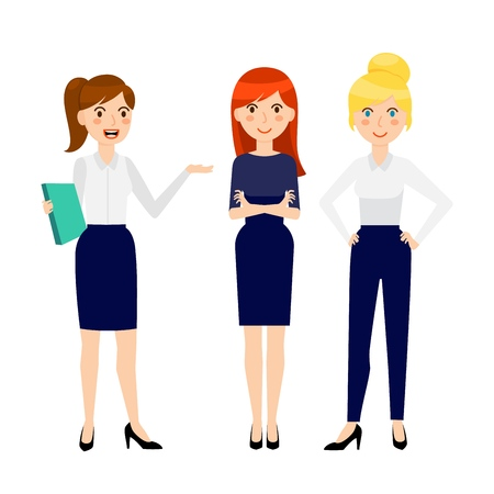 Set of three different smiling young business woman, wearing dress code clothes, isolated on white background. Vector illustration 일러스트