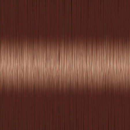 Realistic brown brunette straight hair background with glossy shiny detail. Vector illustration.