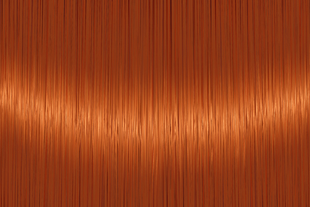 Realistic orange red straight hair texture with glossy shiny detail. Vector illustration.