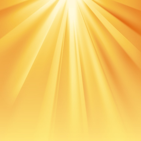Yellow sun rays with orange flare and glaring effect with transparency. Vector illustration