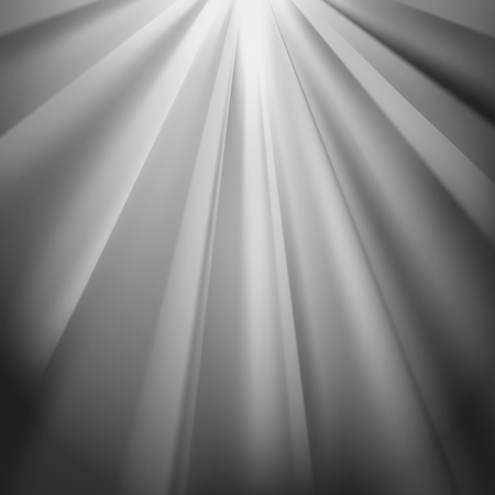 White rays flare on black background with glaring effect and transparency. Vector illustration