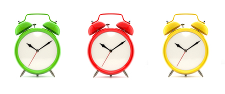 Set of three vintage alarm clocks in green, red and yellow, without numbers, isolated on white background. 3D illustration