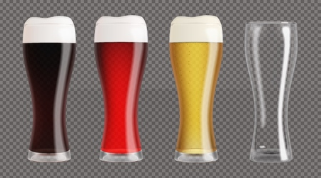 Realistic beer glasses and empty glass. Mugs filled with red, dark, blond beer with bubbles and foam. Graphic design element for brewery ad, beer garden poster, flyer. Transparent vector illustration Stock Illustratie