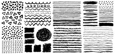 Ensemble de pinceaux de crayon pastel peints à la main. Illustration vectorielle grunge. Vecteurs