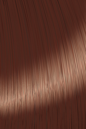 Realistic brown brunette straight hair lock texture with glossy shiny detail. Vector illustration.
